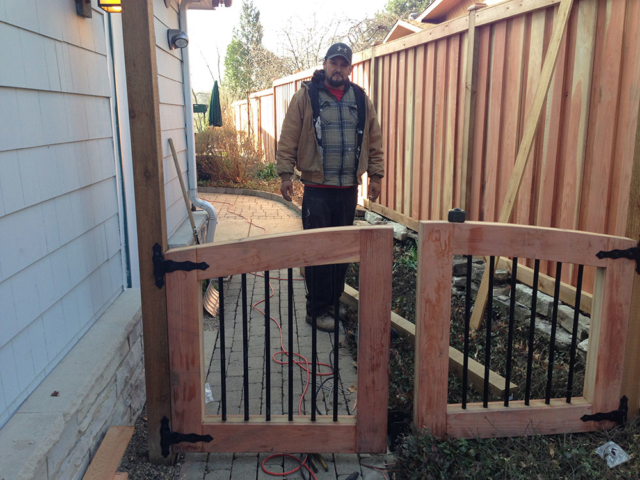 C-0745 - Cedar Fence Gate with Steel Bars