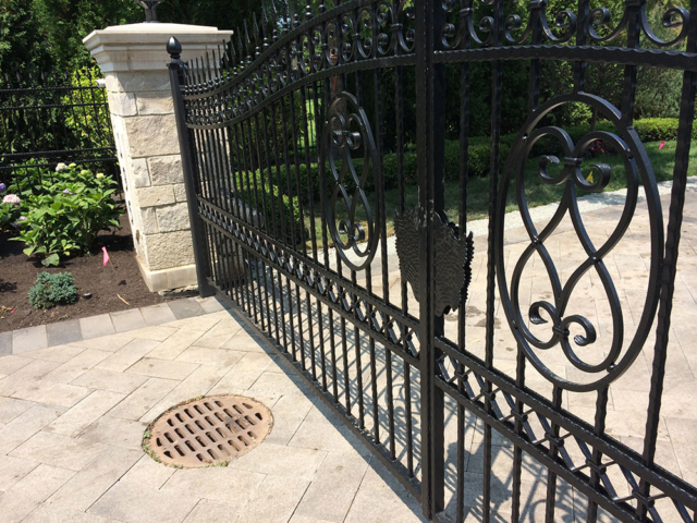 M-0747 - Wrought Iron Gate and Stone Pillars