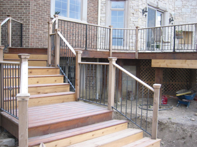 C-0708 - Cedar and Wrought Iron Fence