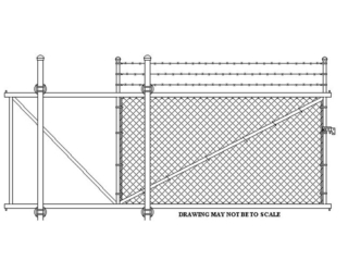L-0709 - Chain Link Fence Gate with Barbed Wire
