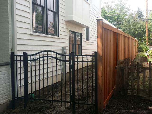 S-009 - Steel Gate and Cedar Fence