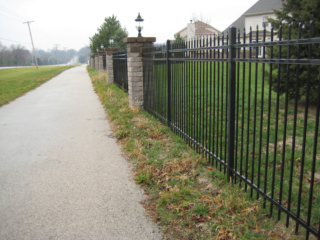 S-013 - Steel Fence and Stone Pillars